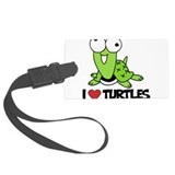 I Love Turtles Large Luggage Tag