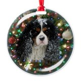 Tricolor Cavalier Snowy Christmas Ornament