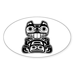 Beaver Native American Design Sticker (Oval 10 pk)