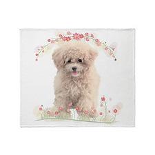 Poodle Flowers Throw Blanket