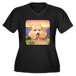 Poodle Meadow Women's Plus Size V-Neck Dark T-Shir