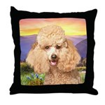 Poodle Meadow Throw Pillow