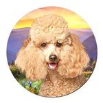 Poodle Meadow Round Car Magnet