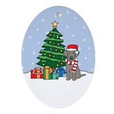 Weimaraner Christmas Oval Ornament