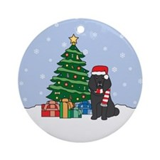 Black Poodle Christmas Round Ornament