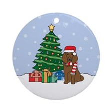 Brown Poodle Christmas Round Ornament
