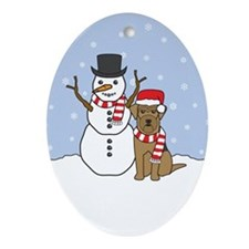 Airedale Terrier Winter Oval Ornament