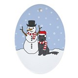 Belgian Sheepdog Winter Oval Ornament