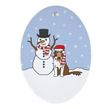 Rough Collie Winter Oval Ornament