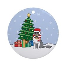 Rough Collie Christmas Ornament (Round)