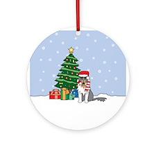 Rough Collie Christmas Ornament (Round)