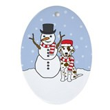 Liver Dalmatian Winter Oval Ornament
