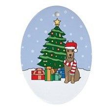 Fawn Doberman Pinscher Christmas Oval Ornament
