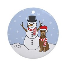 Red Doberman Pinscher Winter Round Ornament