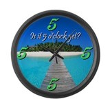 Cute 5 oclock somewhere Large Wall Clock
