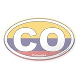 Colombia CO Euro Oval Sticker with Flag Background