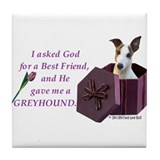 Greyhound (White & Fawn) Tile Coaster