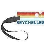Retro Palm Tree Seychelles Large Luggage Tag
