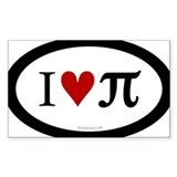 I Love Pi Oval Decal