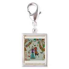 Russian Village in Winter Silver Portrait Charm