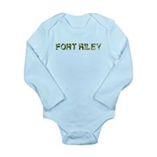Fort Riley, Vintage Camo, Long Sleeve Infant Bodys