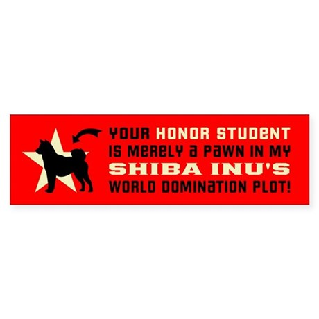 SHIBA INU World Domination Bumper Sticker