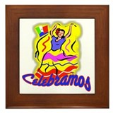 Colorful Mexican Dancer SPANISH Framed Tile