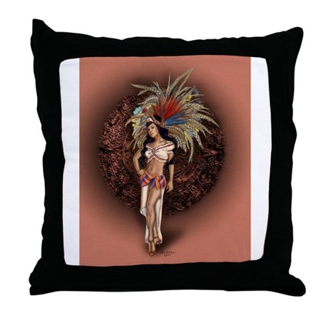 Aztec Princess Pin-Up Throw Pillow