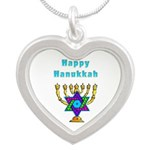 Happy Hanukkah Silver Heart Necklace