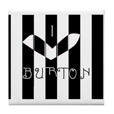 I Love Burton Striped Tile Coaster