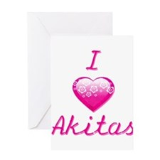 I Love/Heart Akitas Greeting Card