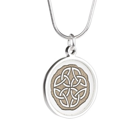 Celtic Knotwork Coin Silver Round Necklace
