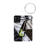 Green Electric Guitar Aluminum Photo Keychain