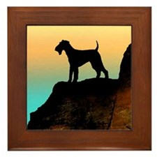 airedale terrier sunset cliff Framed Tile