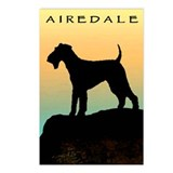 airedale terrier sunset cliff Postcards (Package o