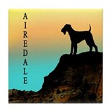 airedale terrier sunset cliff Tile Coaster