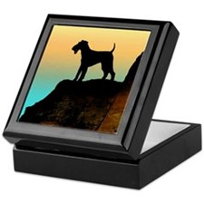 airedale terrier sunset cliff Keepsake Box