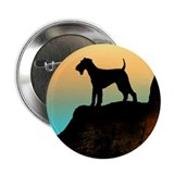airedale terrier sunset cliff Button