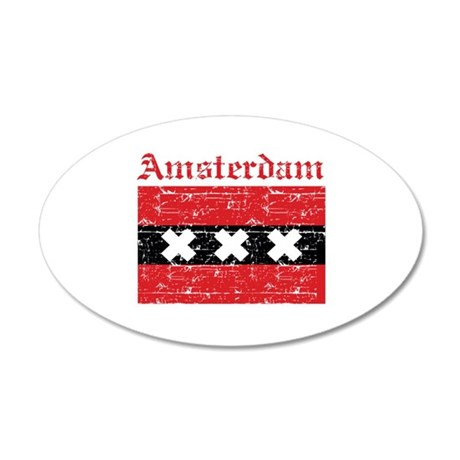 Flag Of Amsterdam Design 35x21 Oval Wall Decal