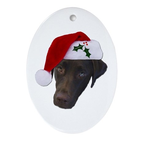 Christmas Lab Oval Ornament