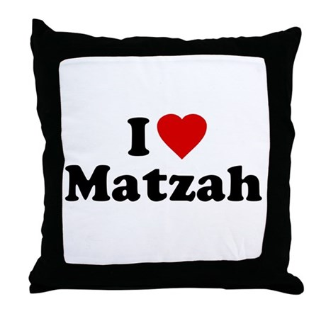 I Love [Heart] Matzah Throw Pillow