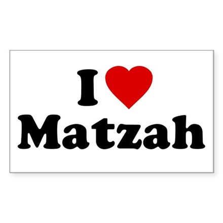 I Love [Heart] Matzah Rectangle Sticker