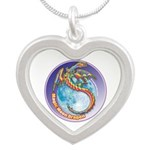 Magic Moon Dragon Silver Heart Necklace