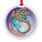 Magic Moon Dragon Round Ornament