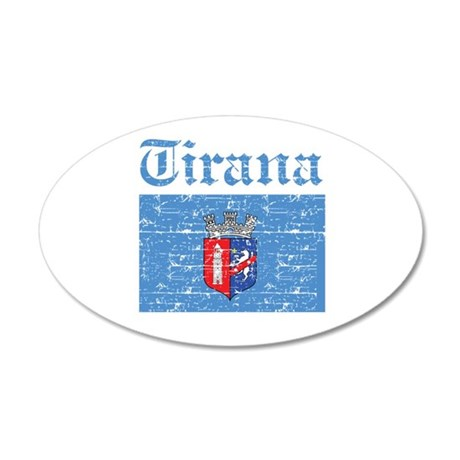 Flag Of Tirana Design 35x21 Oval Wall Decal