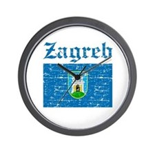 Flag Of Zagreb Design Wall Clock
