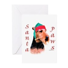 Santa Paws Welsh Terrier Greeting Cards (Package o