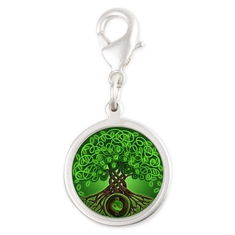 Circle Celtic Tree of Life Silver Round Charm