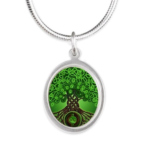 Circle Celtic Tree of Life Silver Oval Necklace