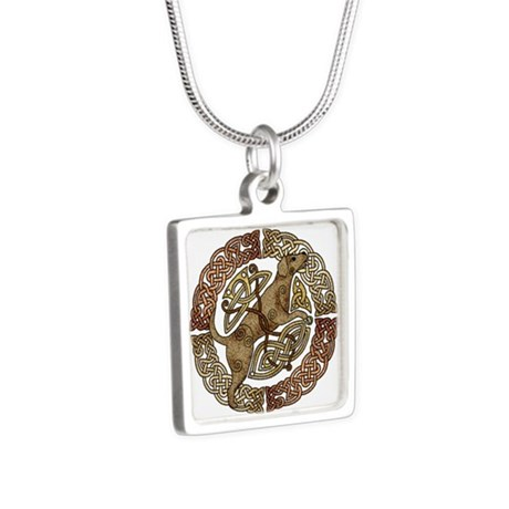 Celtic Dog Silver Square Necklace